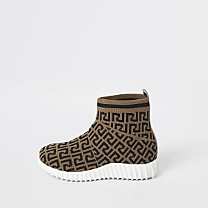 Mini girls RI monogram sock sneakers
