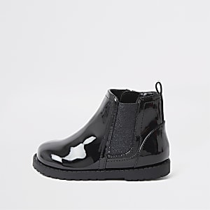 Mini girls black glitter patent boots