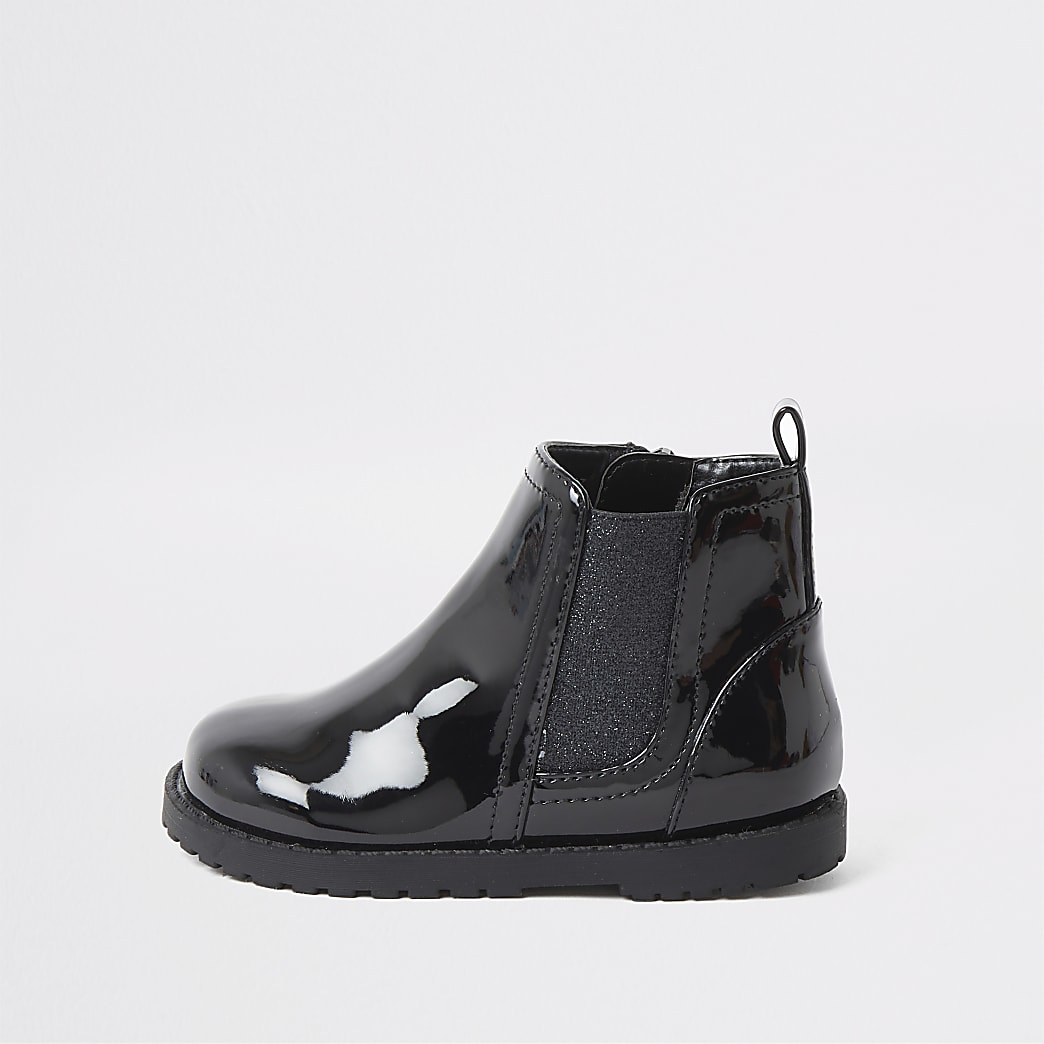 Mini girls black patent boots