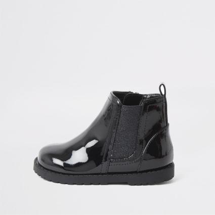 Mini girls black glitter patent boots