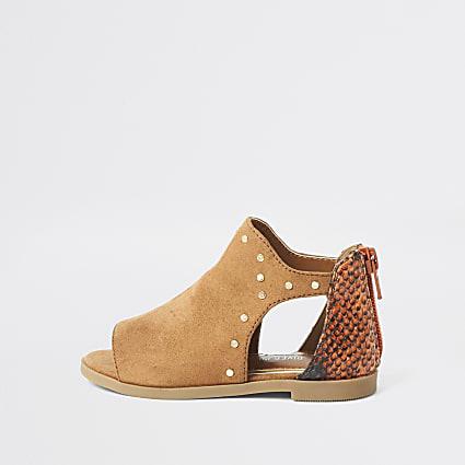 Mini girls brown studded cutout shoe boot