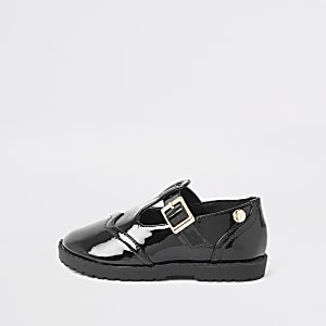 Mini girls black patent shoes