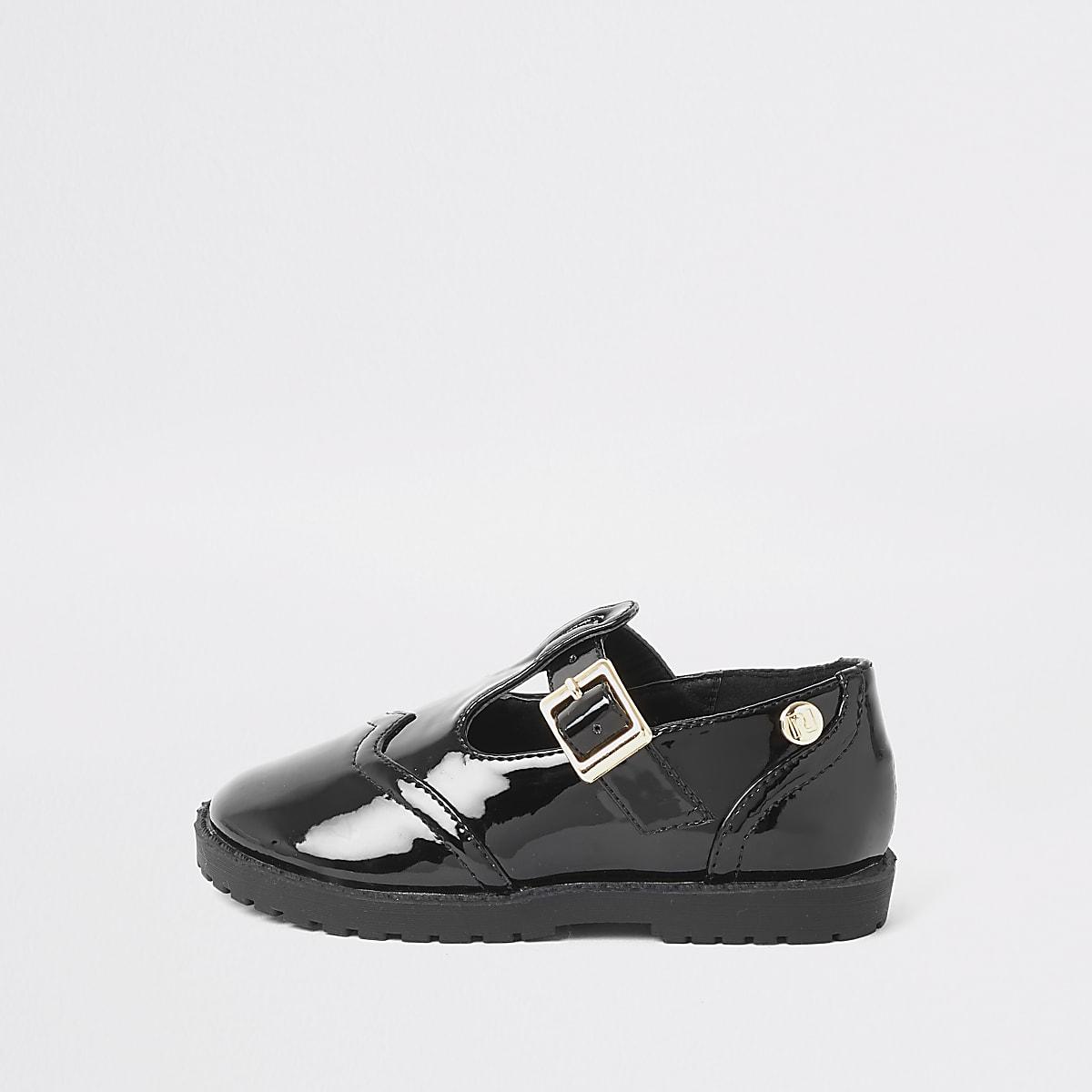 Mini girls black patent shoes