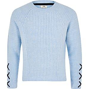 Blauer Pullover mit Kreuzen am Ärmel für Mädchen
