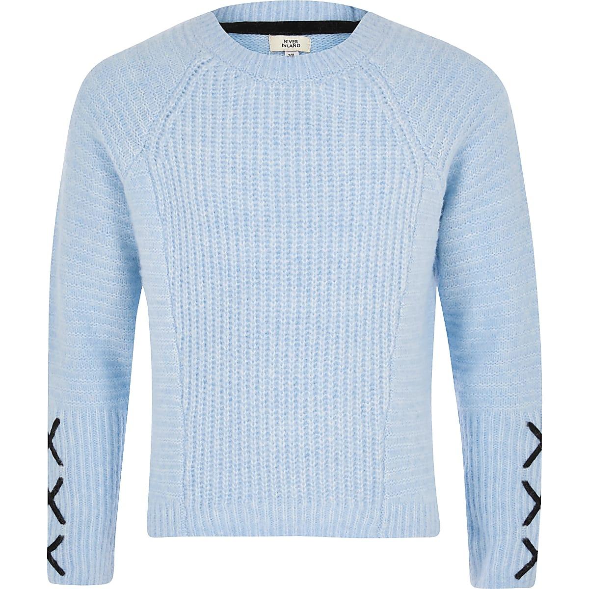 Girls blue cross sleeve jumper