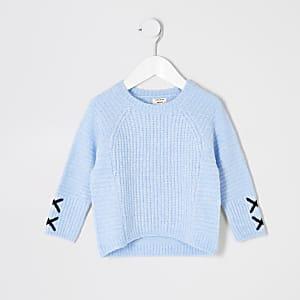 Mini pull bleu à motif croisé aux manches fille