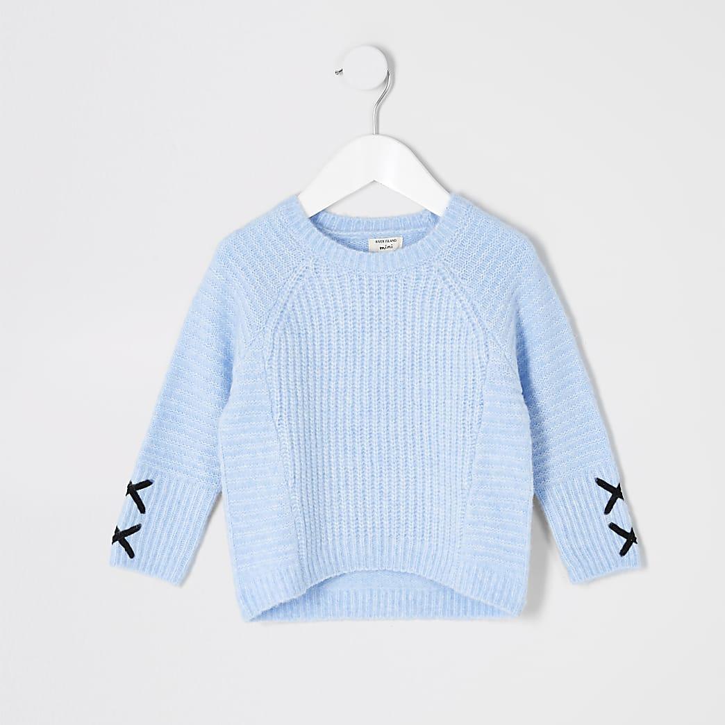 Mini girls blue cross sleeve jumper