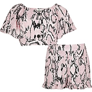 Girls pink snake print short outfit