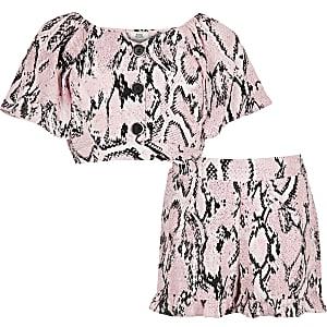 Roze outfit met short en slangenprint voor meisjes
