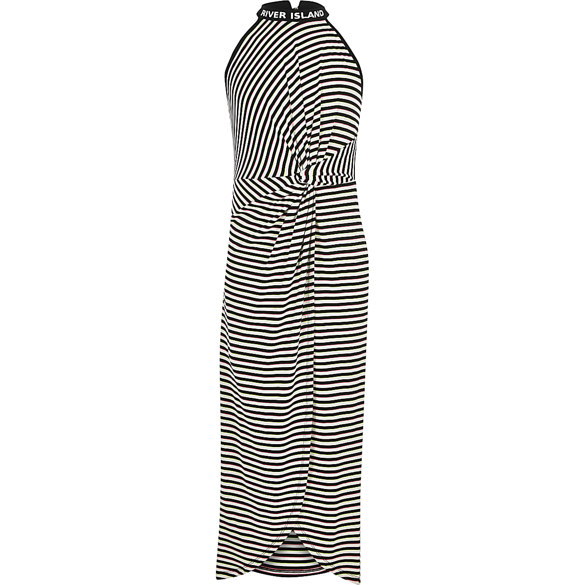 Girls white stripe knot front maxi dress