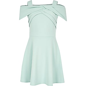 Girls green bow bardot skater dress