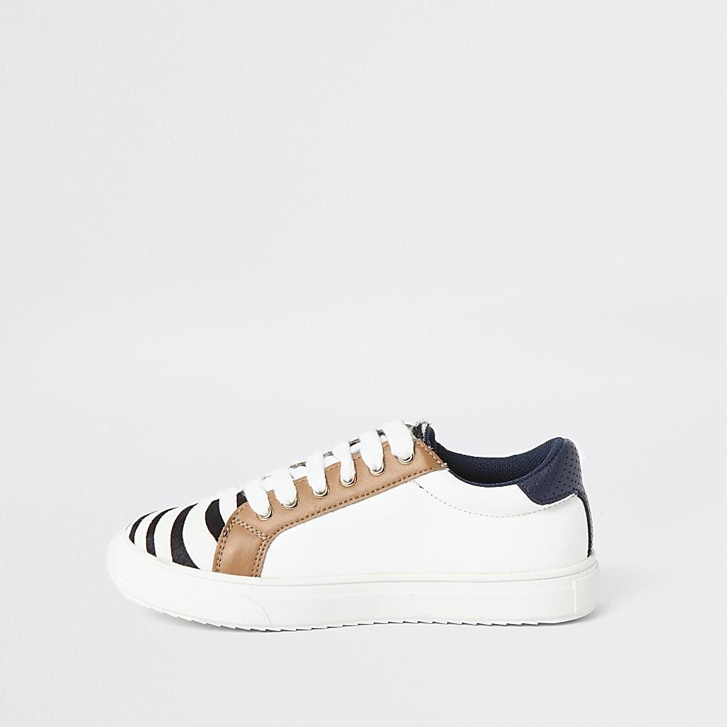 Witte sneakers met vetersluiting en zebraprint voor meisjes