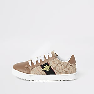 Girls brown RI monogram bee plimsoll