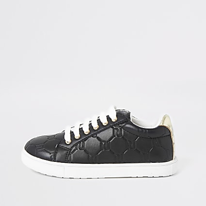 Girls black RI monogram lace-up plimsolls