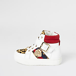 Mini girls leopard print high top trainers