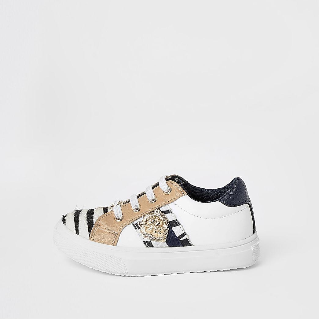 Mini girls white zebra crest trainers