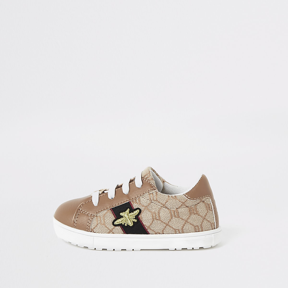 Mini - Bruine sneakers met RI-monogram voor meisjes