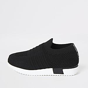 Mini – Schwarze Laufschuhe aus Strick für Kinder