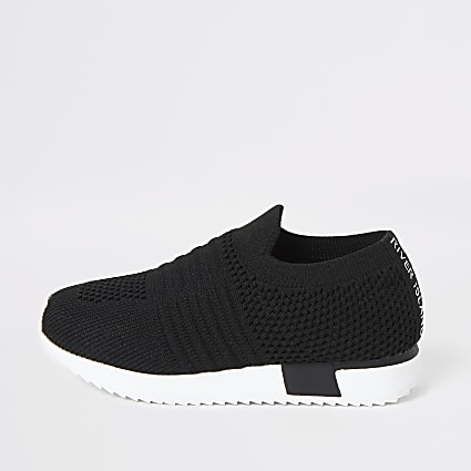 Mini kids black knit runner trainers