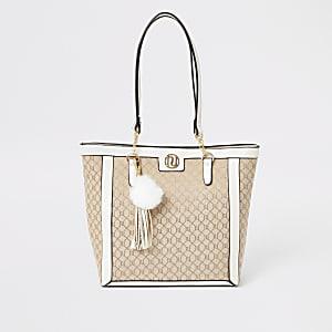 RI - Jacquard-Einkaufstasche für Mädchen in Creme