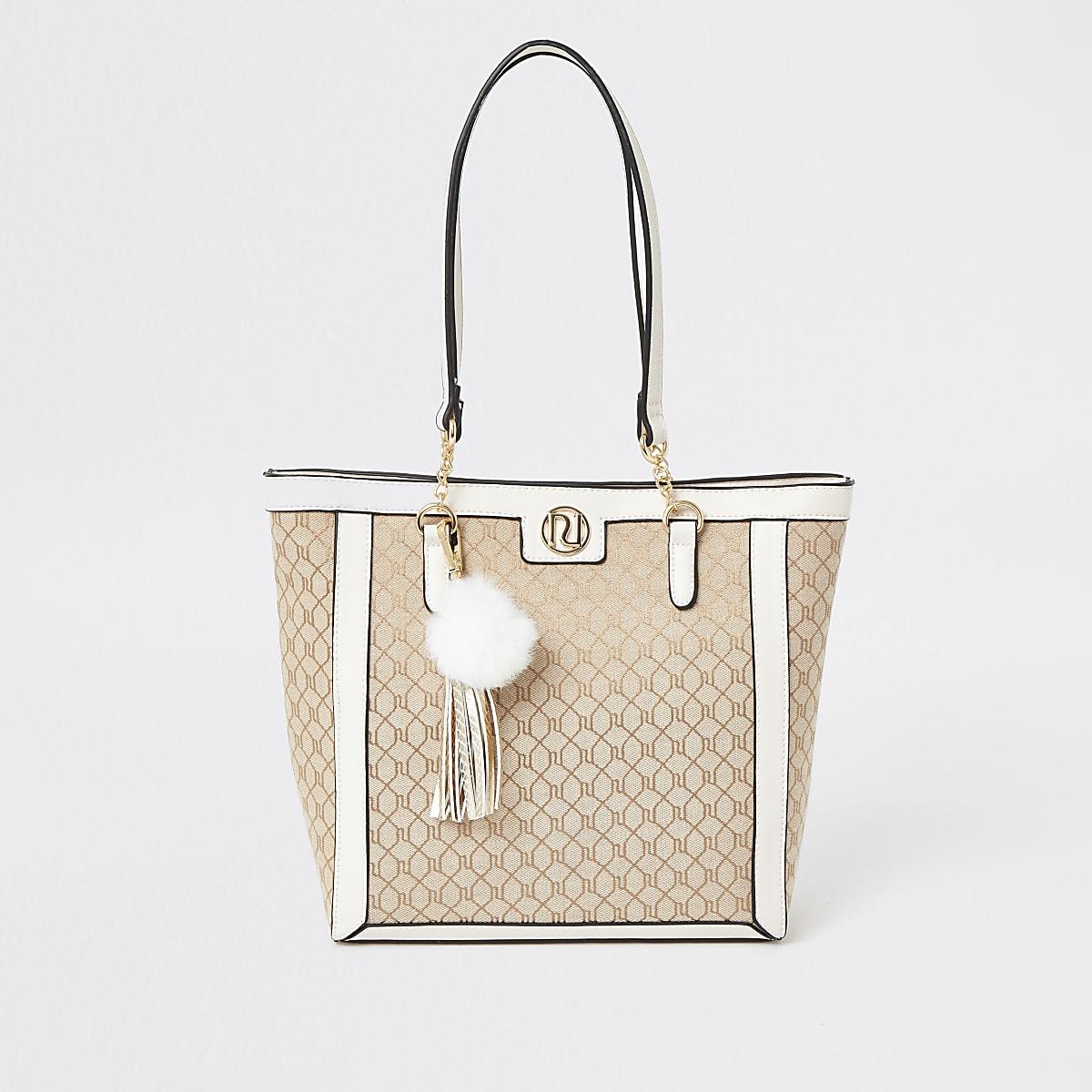 Girls cream RI jacquard shopper