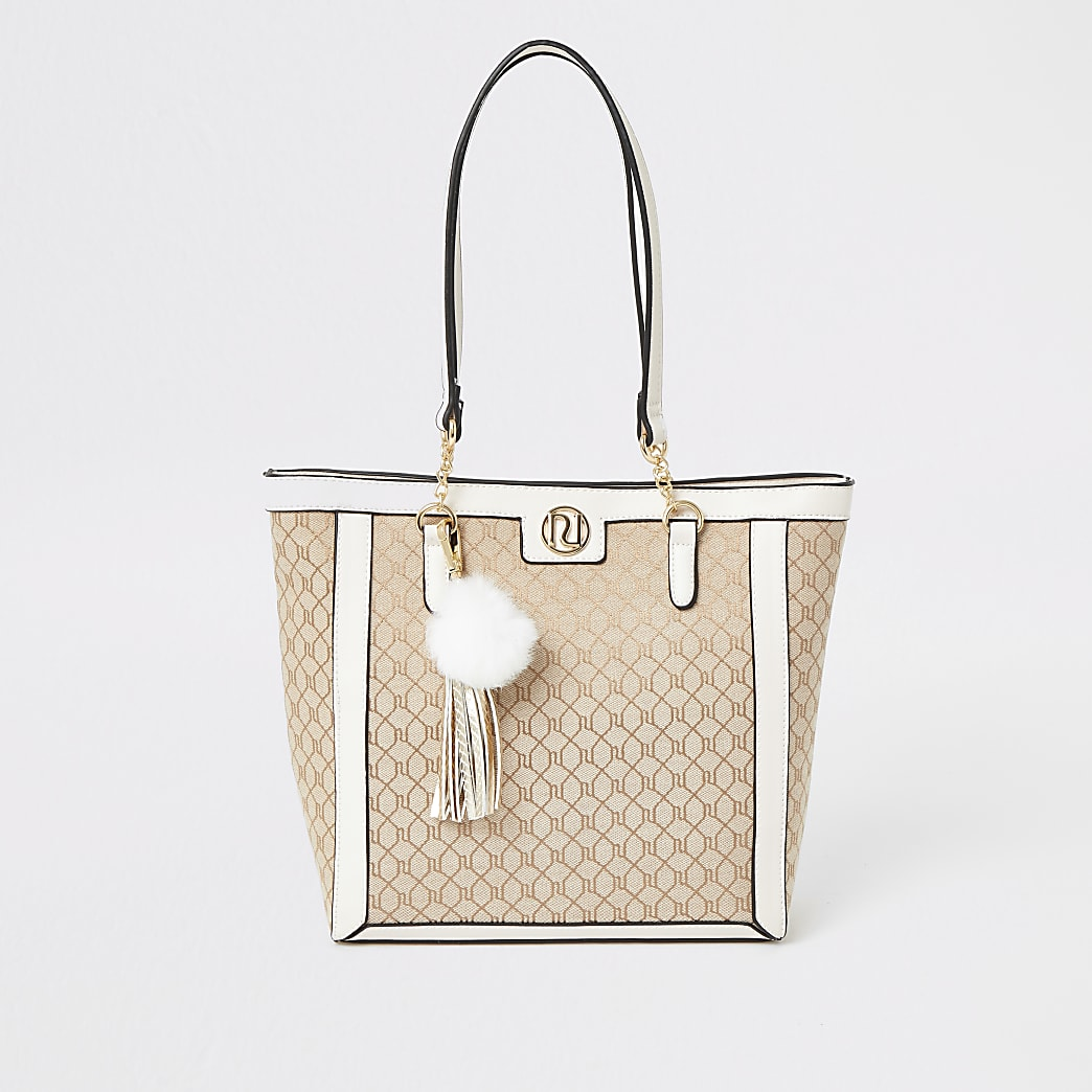 Girls cream RI jacquard shopper
