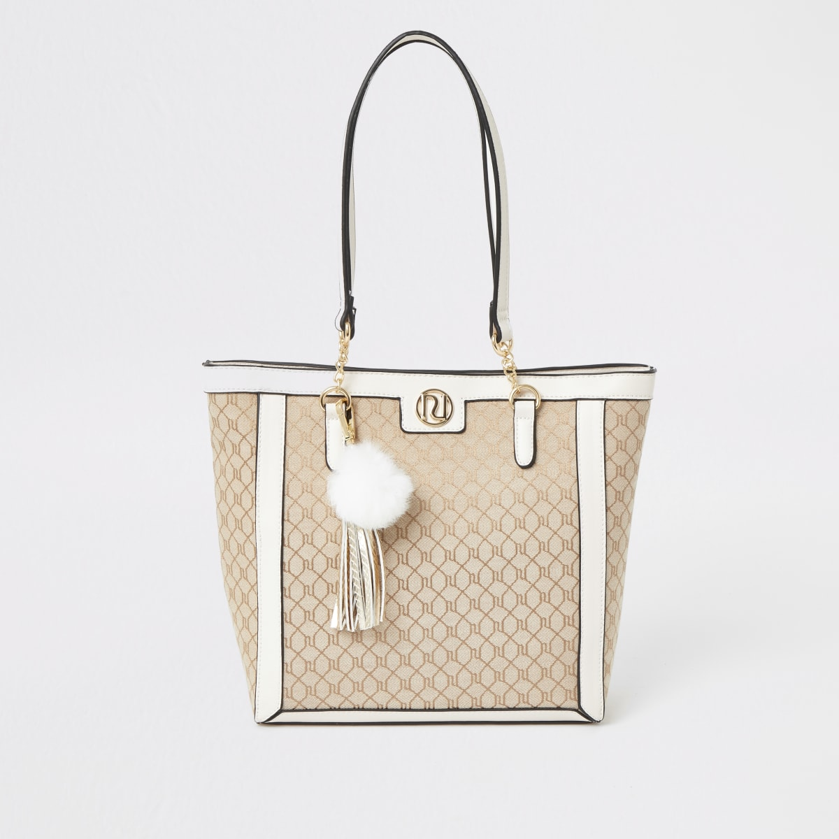Crèmekleurige jacquard shopper voor meisjes