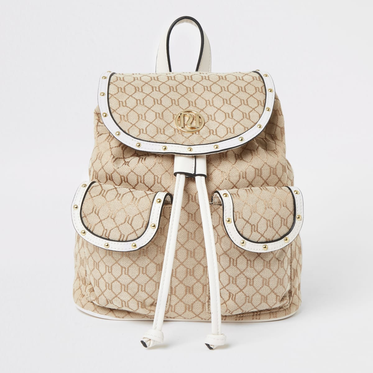 Girls cream Ri jacquard rucksack