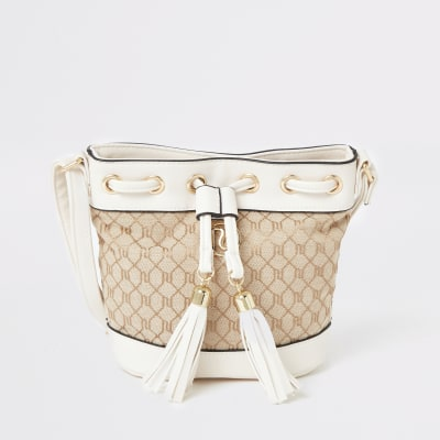 Girls Cream Ri Jacquard Duffle Cross Body Bag by River Island