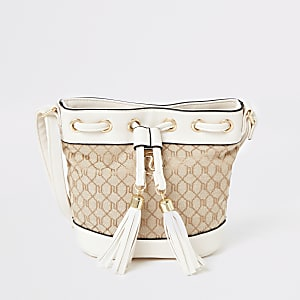 Girls cream RI jacquard duffle bag