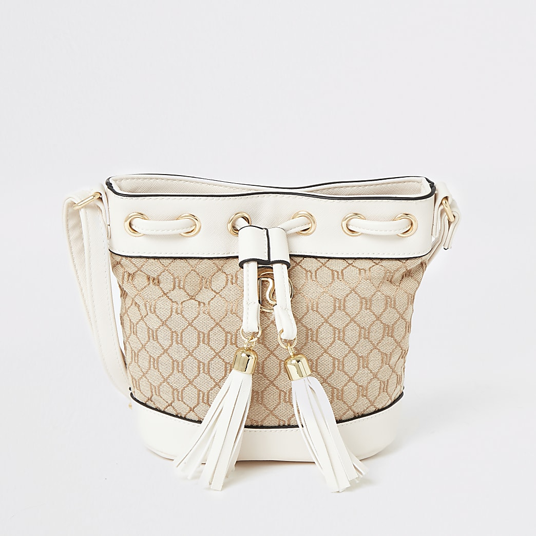 Girls cream RI jacquard duffle cross body bag