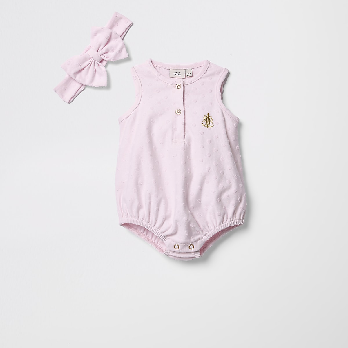 Baby pink textured romper with headband