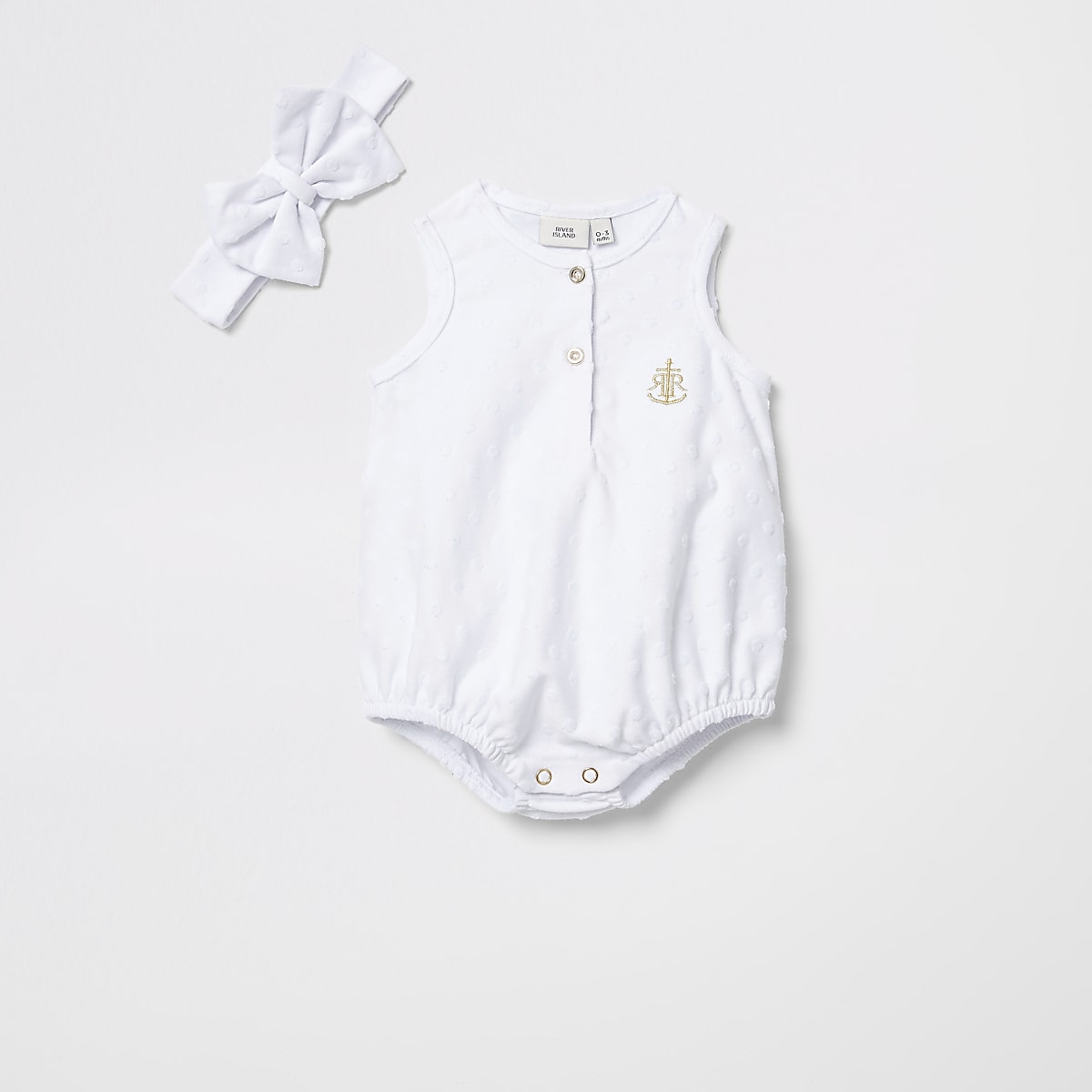 Baby white textured romper with headband