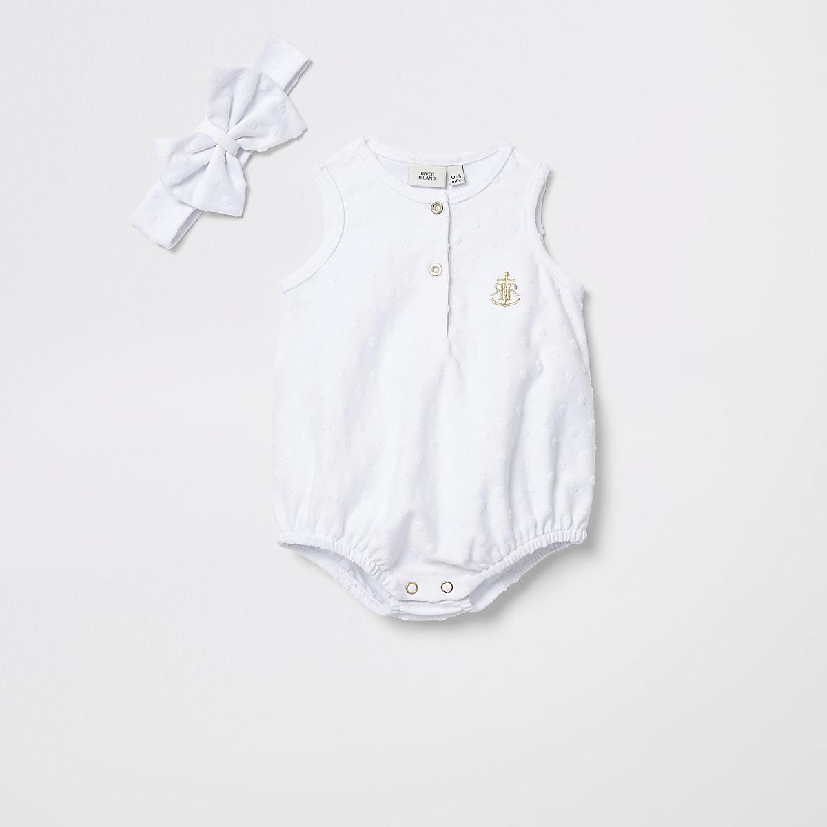 Baby white textured romper with headband