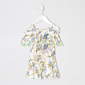 Mini girls white shell print romper