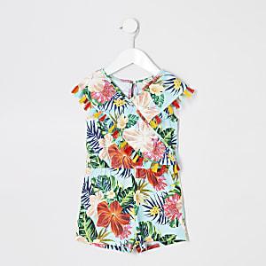 Mini - Blauer Overall mit Blumenmotiv für Mädchen