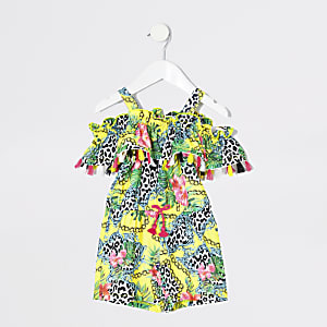 Mini girls yellow baroque print playsuit