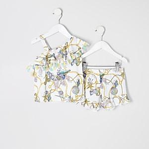 Mini - Outfit met witte top met schelpenprint en blote schouder voor meisjes