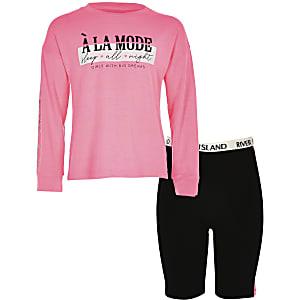 Roze fietsbroekpyjama-set met print voor meisjes