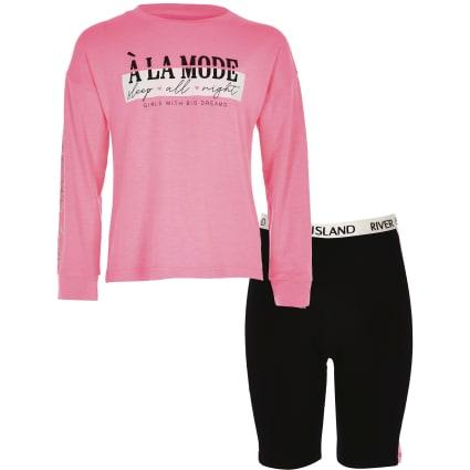 Girls pink printed cycle shorts pyjama set