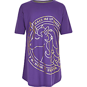 Girls purple unicorn night dress
