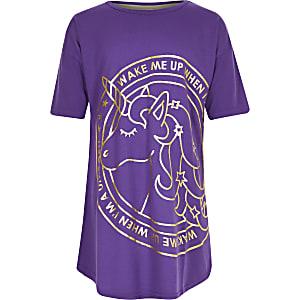 Chemise de nuit violette à licorne pour fille