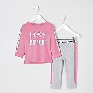 Mini - Roze pyjamaset met eenhoornprint voor meisjes