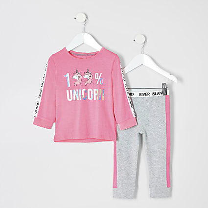 Mini girls pink unicorn pyjamas