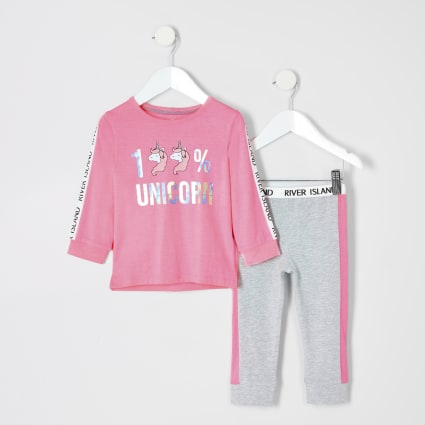 Mini girls pink unicorn pyjama set