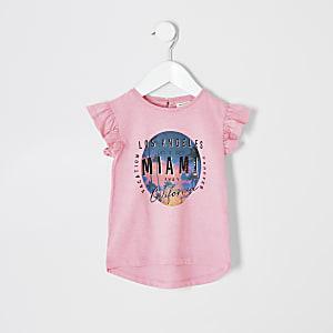 T-shirt à imprimé orné de sequins rose mini fille