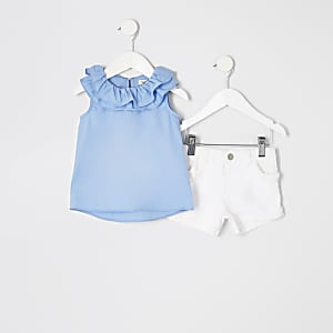Mini girls blue frill top and shorts outfit