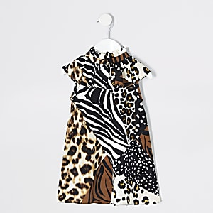 Mini - Bruine jurk met dierenprint en split voor meisjes