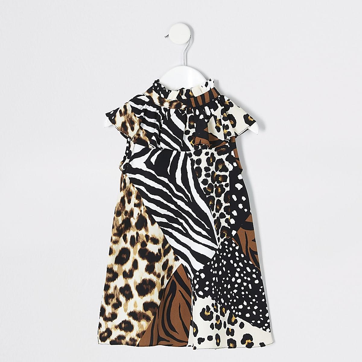 Mini girls brown splice animal print dress