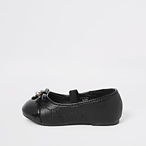 Mini girls black RI ballet flats